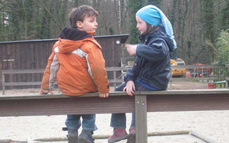 Kleine Kinder auf der Koppel